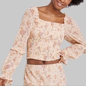 Wild Fable Ruffle Square Neck Floral Crop Top S